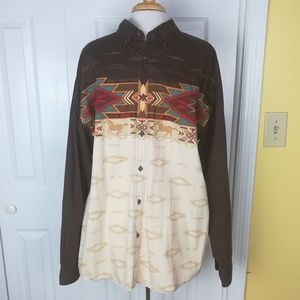 Bit & Bridle Aztec/western button down shirt